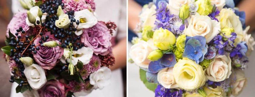 Der Brautstrauß und Blumenschmuck auf der Hochzeit
