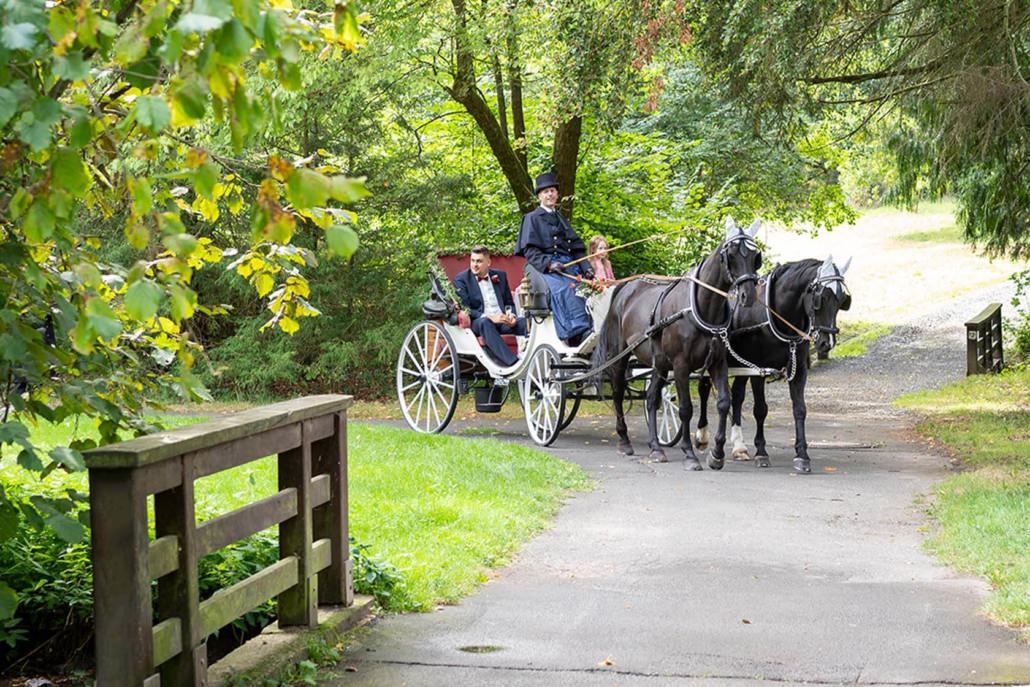 Fahren mit der Kutsche zur Hochzeit im Park