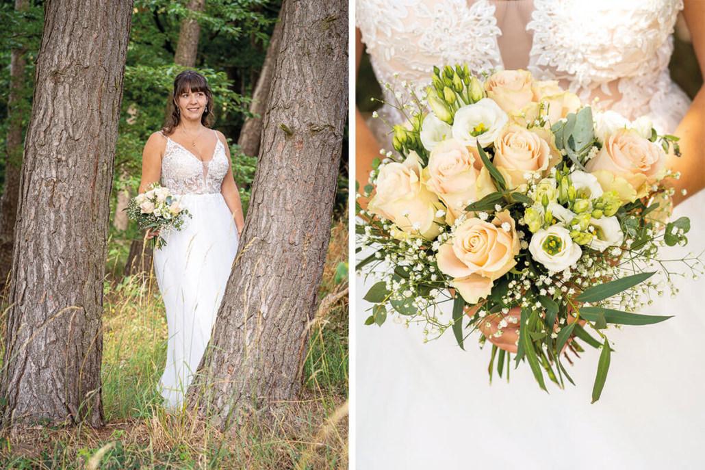 Collage mit Braut und Brautstrauß in Kirchhain bei Marburg