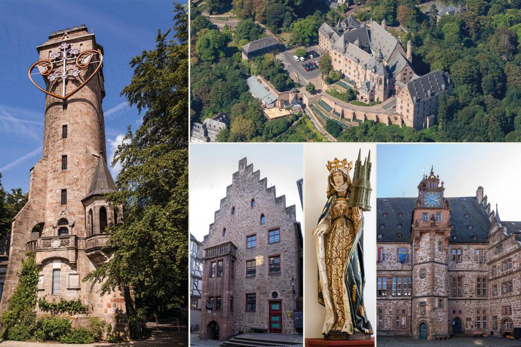 Historische Gebäuse in Marburg: Spiegelslustturm, Landgrafenschloss, Rathaus und Steinernes Haus